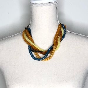 Fossil beaded multi-strand earth tone necklace
